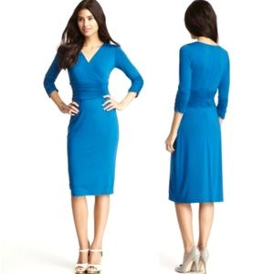 NUE BY Shani Turquoise Surplice Ruched Knit Dress